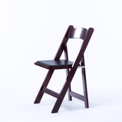 mahogany folding chair with black padded seat