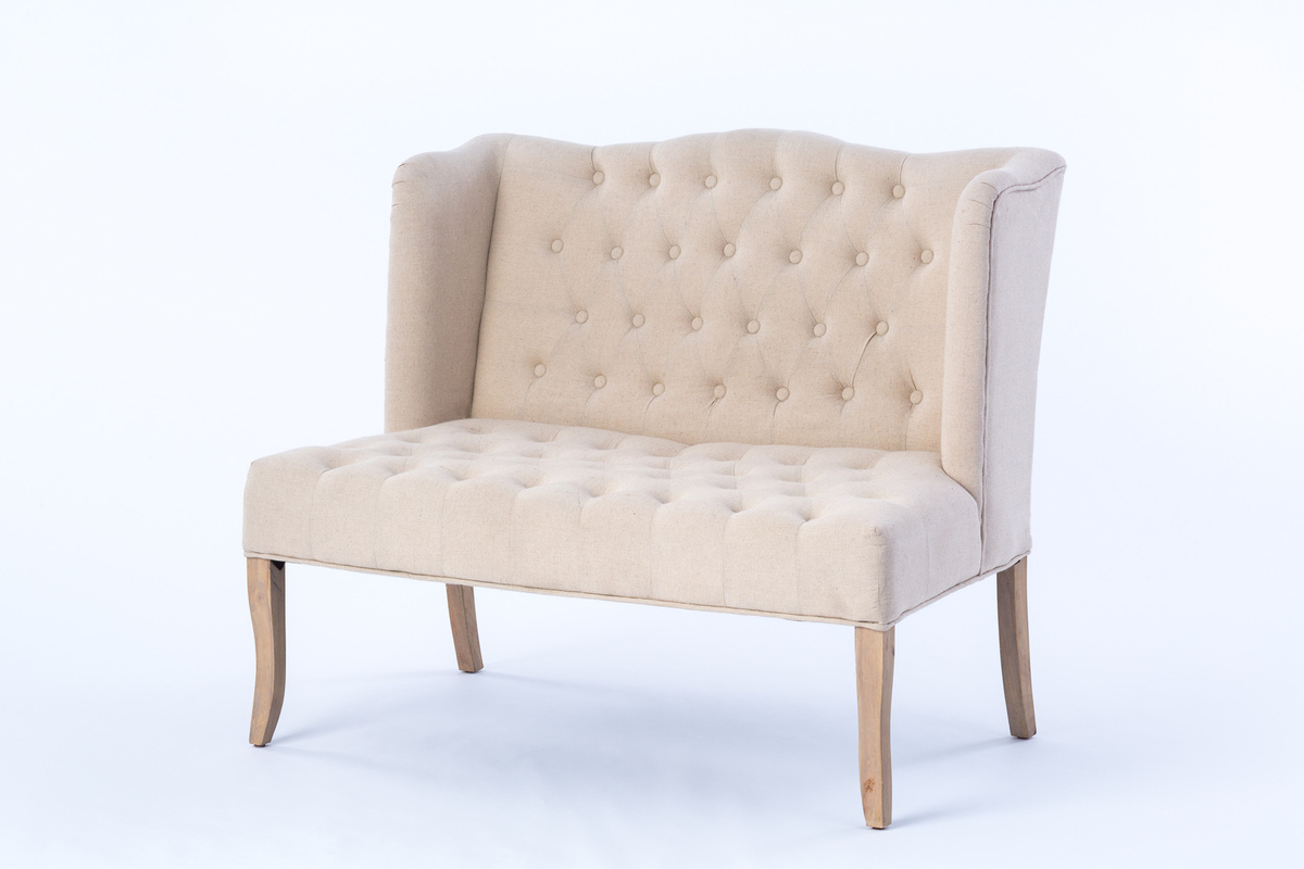 ivory tufted loveseat rental encore events rentals