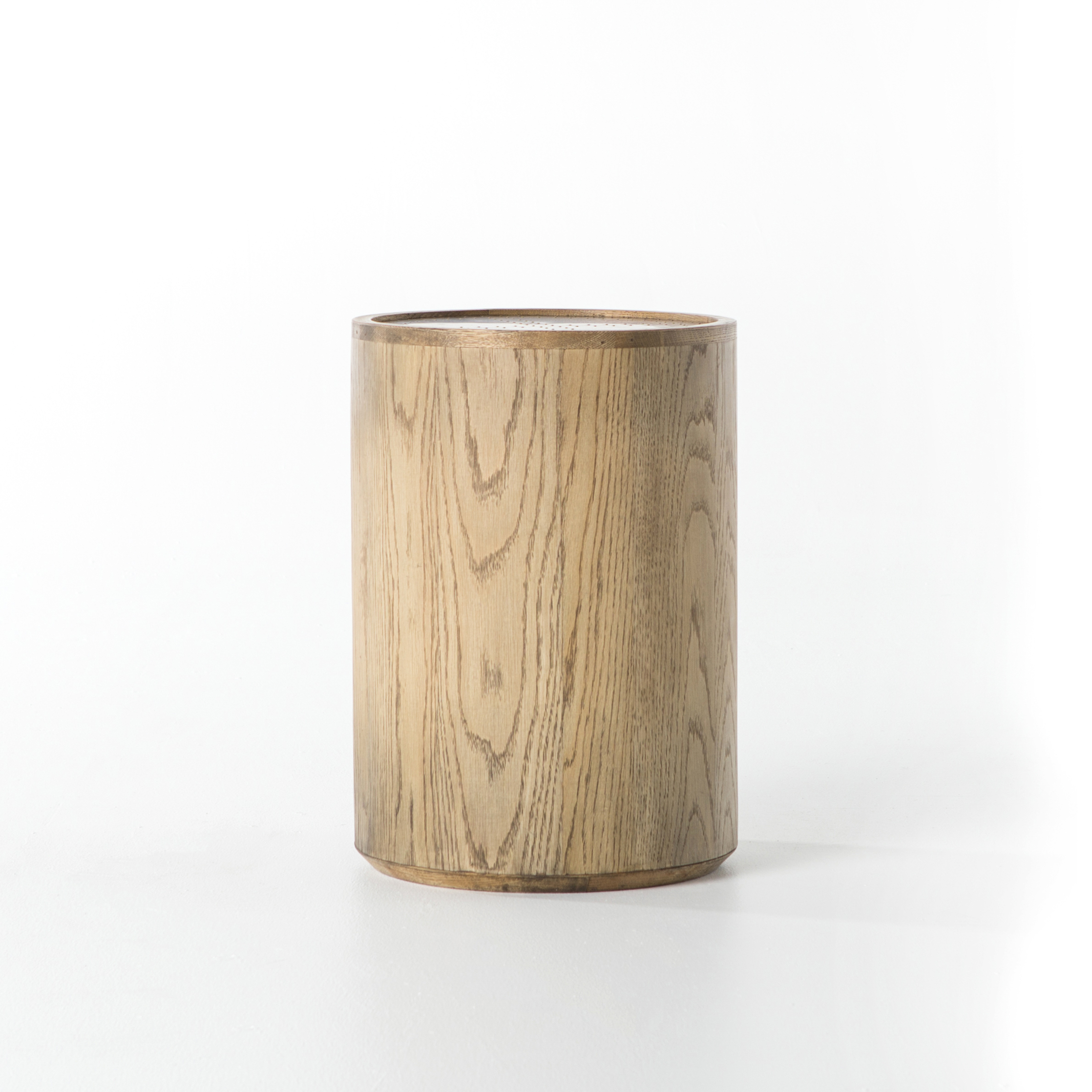 Drum Accent Table Copper Top Wood_4