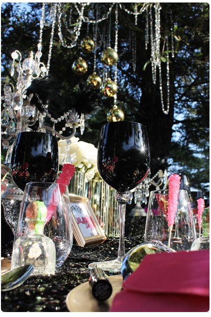 black wine glasses | glam rock wedding table design