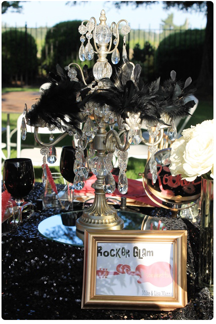 centerpieces | glam rock wedding table design