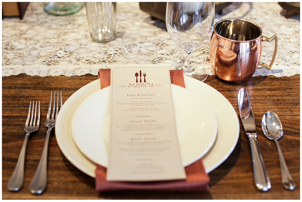 copper mug place setting