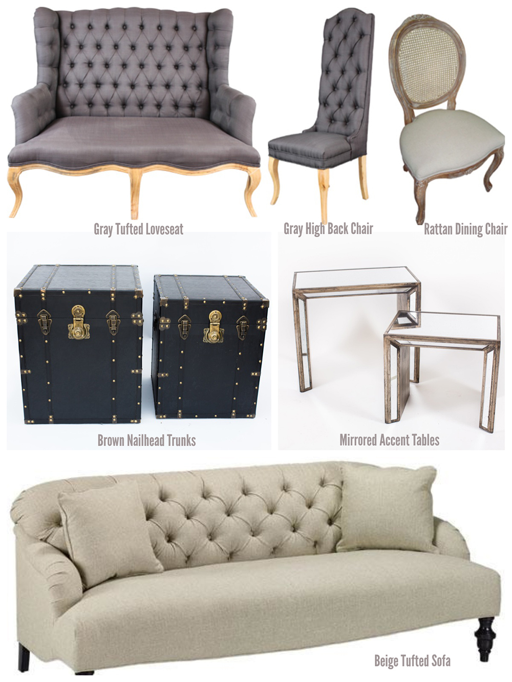 Rent Vintage Lounge Furniture in Wine Country