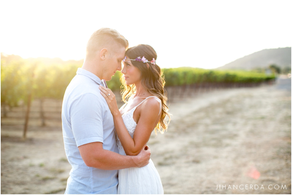 Boho vineyard engagement photo