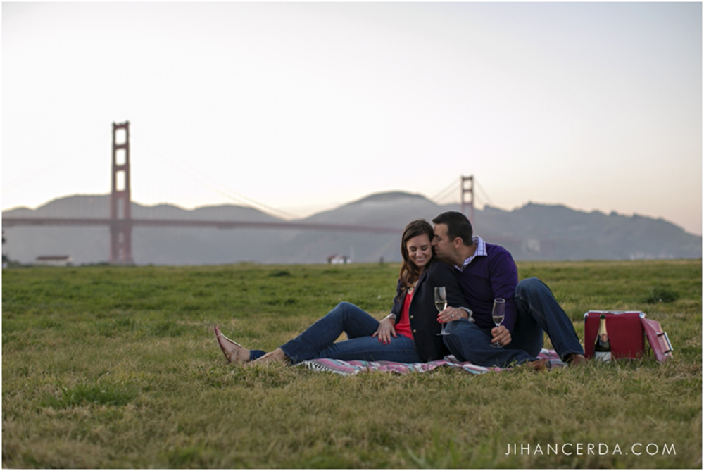 Engagement photo by golden gate bridge