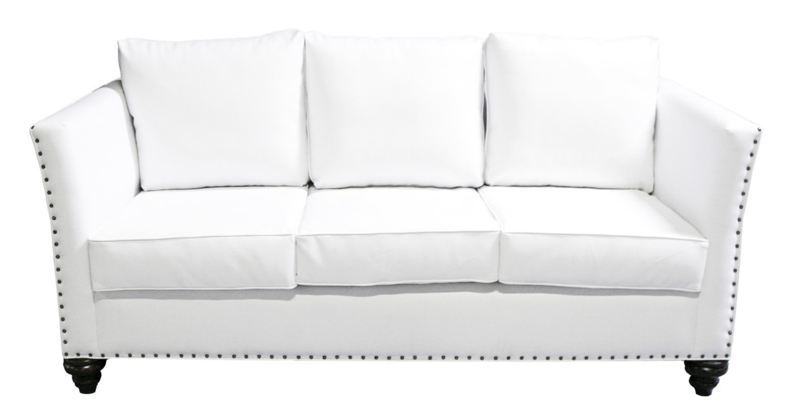 White Leather Sofa With Nailheads 1025theparty Com ~ Leather Sofa With Nailheads